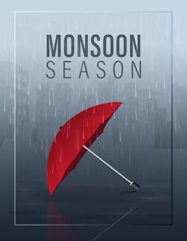 Illustrazione di stagione dei monsoni con l'ombrello rosso su pioggia nella città al fondo di notte