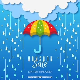 Composizione di vendita stagione dei monsoni con design piatto