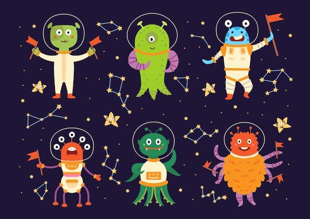 Mostri alieni in tute spaziali Vettore Premium