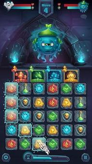 Monster battle gui slug nature playing field match - finestra di formato mobile illustrazione stilizzata del fumetto con pulsanti di opzioni, oggetti di gioco, carte.