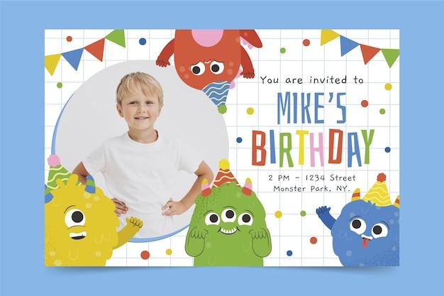 Modello di invito di compleanno mostro con foto