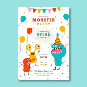 Modello di invito compleanno mostro