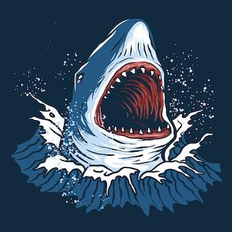 Monster blue shark illustrazione