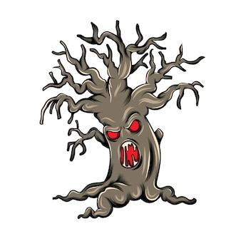 Mostro albero marrone con la faccia nel bagagliaio per l'edizione di halloween