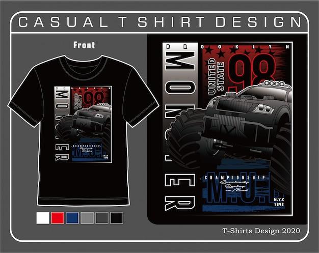 Ruota grande mostro auto, illustrazione tipografia auto per t-shirt