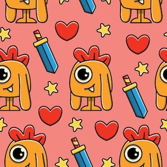 Monster cartoon doodle seamless pattern design
