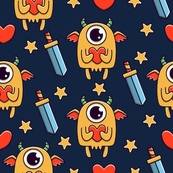 Monster cartoon doodle seamless pattern design