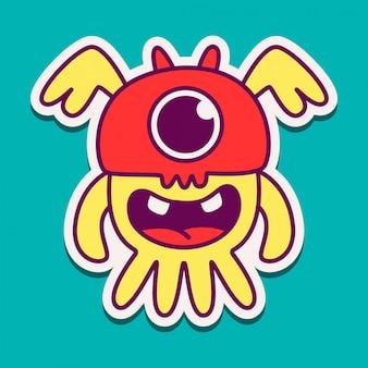 Modello di disegno di doodle dell'autoadesivo del fumetto del mostro