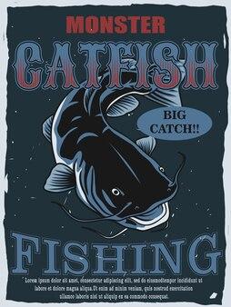 Disegno del manifesto del pesce gatto mostro