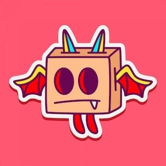Illustrazione dell'autoadesivo di doodle del carattere del mostro
