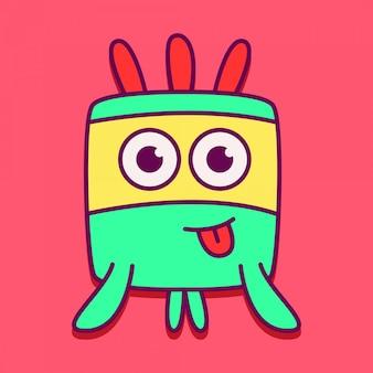 Mostro personaggio kawaii doodle design