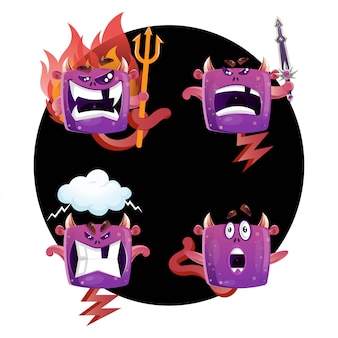Collezione monster in diverse pose