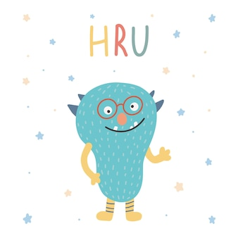 Mostro colorato simpatico personaggio dei cartoni animati kawaii spaventoso bambino divertente happy halloween