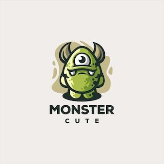 Design del logo di gioco carino mostro