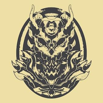 Illustrazione dello stencil del demone del mostro