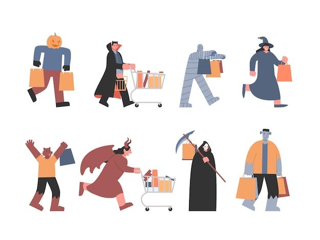 Mostri e diavoli in diverse pose per lo shopping includono vampiri, streghe lupo mannaro e altri fantasmi della narrativa fantasy. illustrazione di concetto sullo shopping di halloween.