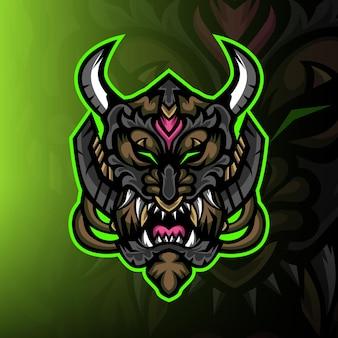 Cane mostro dal logo mascotte scuro esport