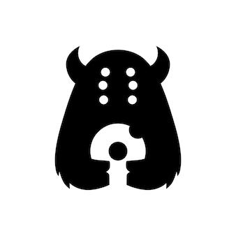 Illustrazione dell'icona di vettore del logo dello spazio negativo delle ciambelle del mostro