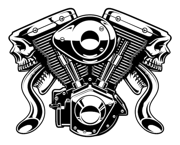Monster engine isolati su sfondo bianco.