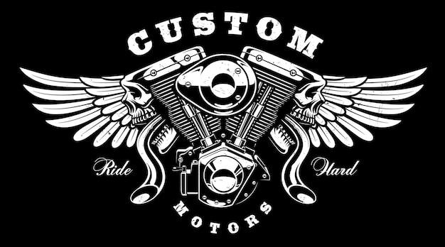 Motore monster con design ali. tutti gli elementi, il testo sono il livello separato. Vettore Premium