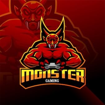 Logo della mascotte esport di monster gaming