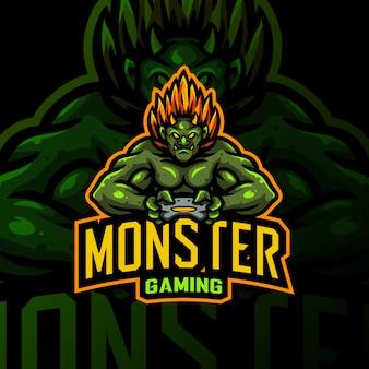 Mostro mascotte logo gaming esport illustrazione