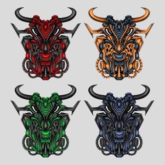Collezione di illustrazioni monster mecha samurai