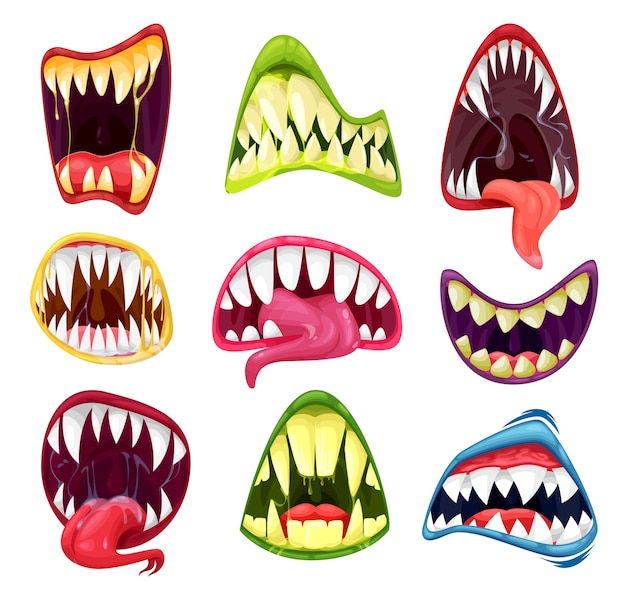 Insieme del fumetto delle bocche del mostro della festa di orrore di halloween. denti e lingue spaventosi nella bocca di una bestia aliena inquietante, diavolo o zombi, sorrisi spettrali di vampiro dracula, lupo mannaro o demone