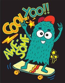 Disegnato a mano mostro di skateboard per maglietta