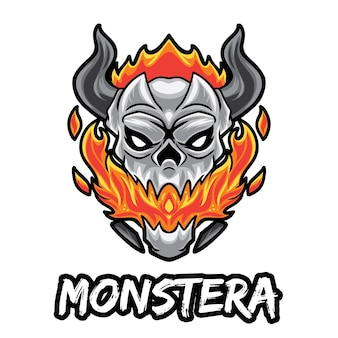 Logo monster skull esport isolato su bianco