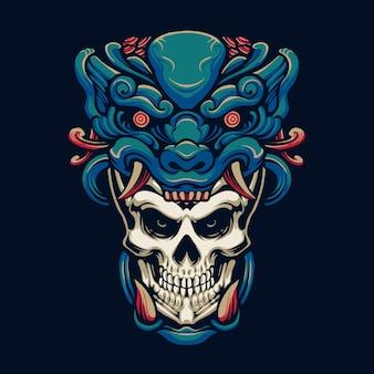 Disegno dell'illustrazione della testa del cranio del mostro