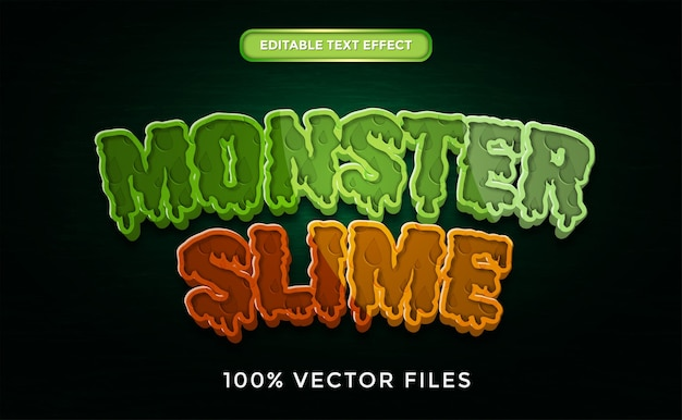 Effetto testo monster slime vettore premium