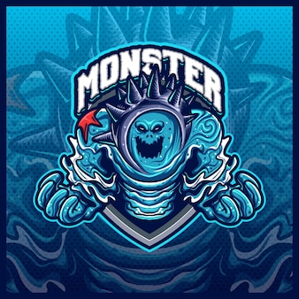 Monster water element mascotte esport logo design illustrazioni modello vettoriale, logo mostro marino per merch streamer gioco di squadra, stile cartone animato a colori