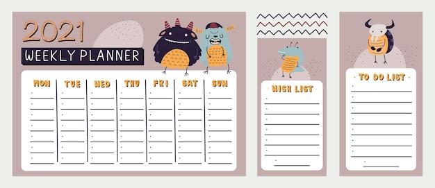 Agenda settimanale monster