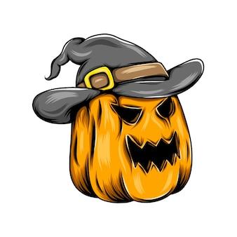 Mostro di zucca gialla con il cappello da witcher e in posa con la grande risata