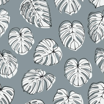 Monstera deliciosa leaf seamless pattern.