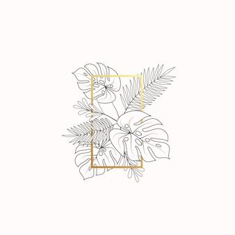 Monstera e felce foglie tropicali composizione decorativa banner o modello di etichetta fogliame astratto w...