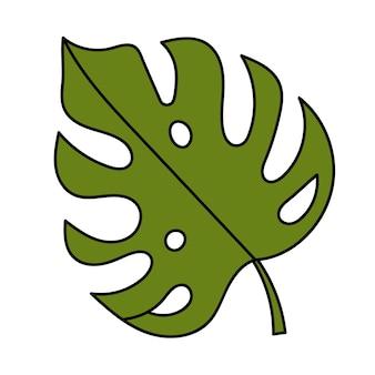 Foglia di monstera, piante tropicali. illustrazione semplice. icona dell'estate Vettore Premium