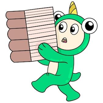 I mostri stanno imparando a trasportare pile di libri da leggere, illustrazione vettoriale. scarabocchiare icona immagine kawaii.