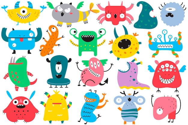 Insieme di doodle di mostri. collezione di personaggi dei cartoni animati colorati creature spettrali alieni brutti ciclopi bestie mascotte gremlins arrabbiati, illustrazione del fumetto di halloween.