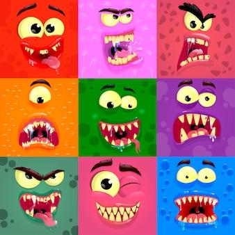 Emozioni dei mostri. maschere di volti spaventosi con la bocca e gli occhi di alieni mostri