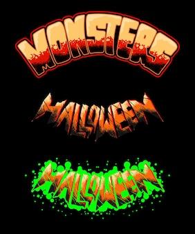 Mostri halloween horror scritte a mano premium illustrazione vettoriale