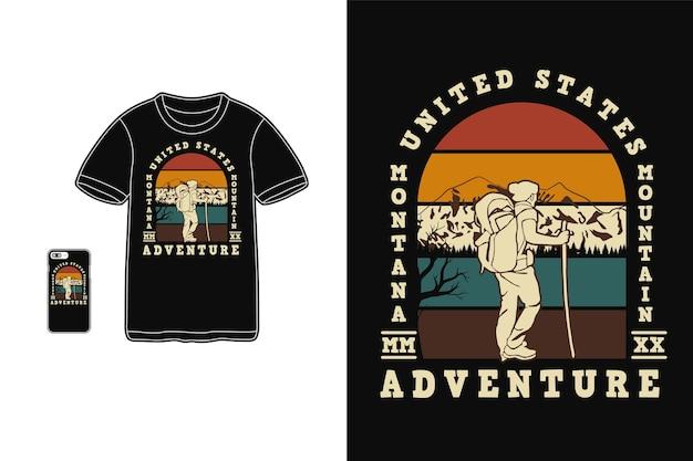 Montana mountain adventure design per t shirt silhouette stile retrò