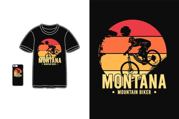 Montana mountain biker, t-shirt merchandise silhouette tipografia