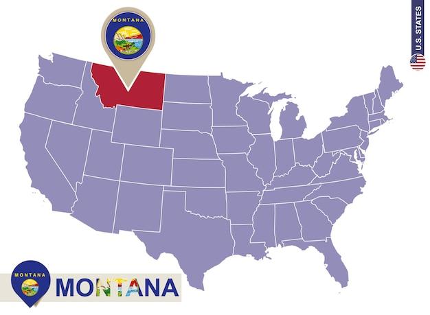 Stato del montana sulla mappa degli stati uniti. bandiera e mappa del montana. stati uniti d'america.