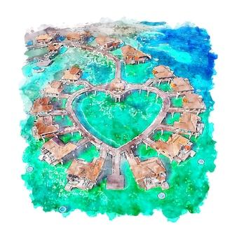 Illustrazione disegnata a mano di schizzo dell'acquerello di montego bay giamaica