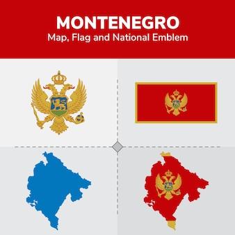 Mappa del montenegro, bandiera e emblema nazionale