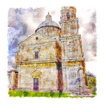 Illustrazione disegnata a mano di schizzo dell'acquerello di montepulciano italia