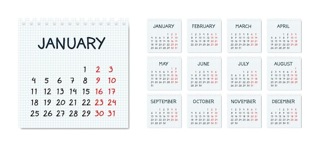 Calendario mensile in stile abbozzato sulla pagina del taccuino a quadretti
