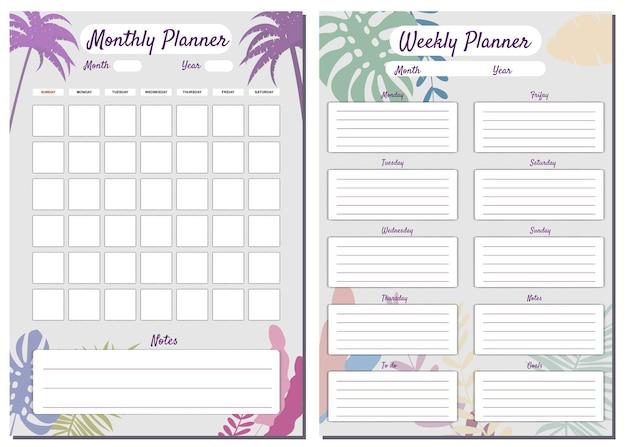 Planner settimanale mensile set template vector note floreali sullo sfondo delle palme